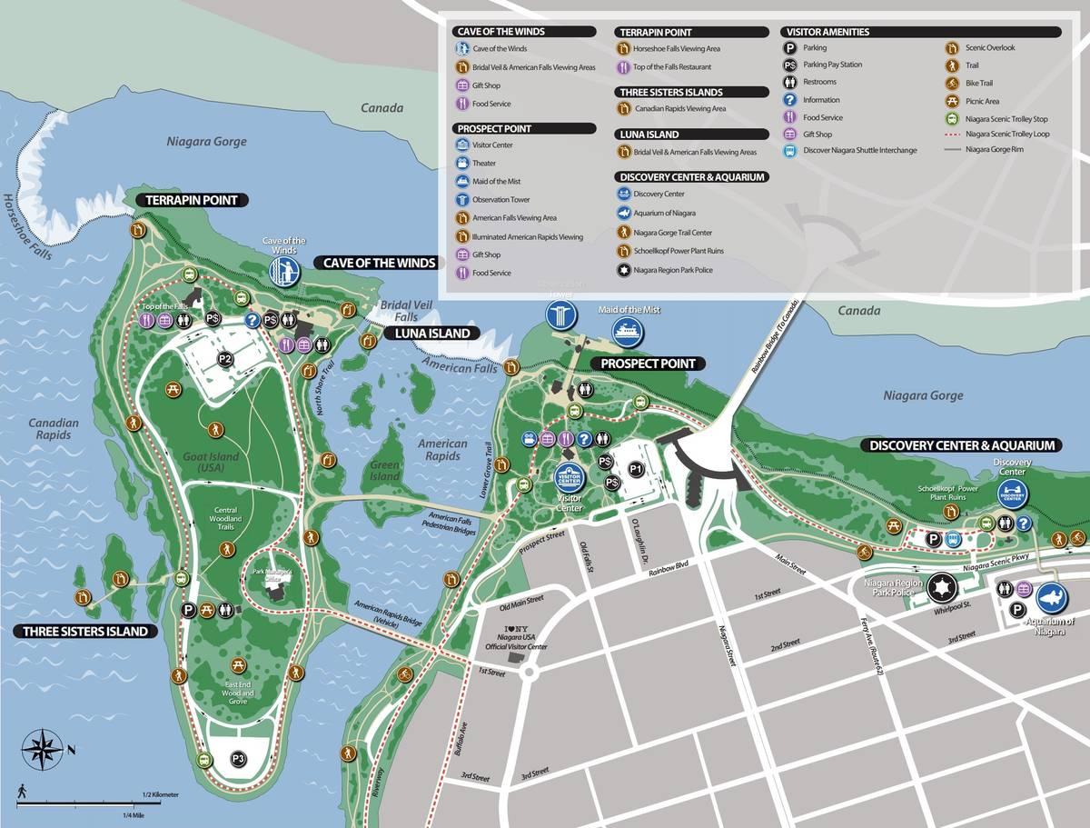 Маршрут Niagara Scenic Trolley обозначен пунктиром. Зелеными кружками указаны остановки. Автобус останавливается около аттракционов, центра дляпосетителей, у смотровых площадок и ресторана Top of the falls. Источник: niagarafallsstatepark.com