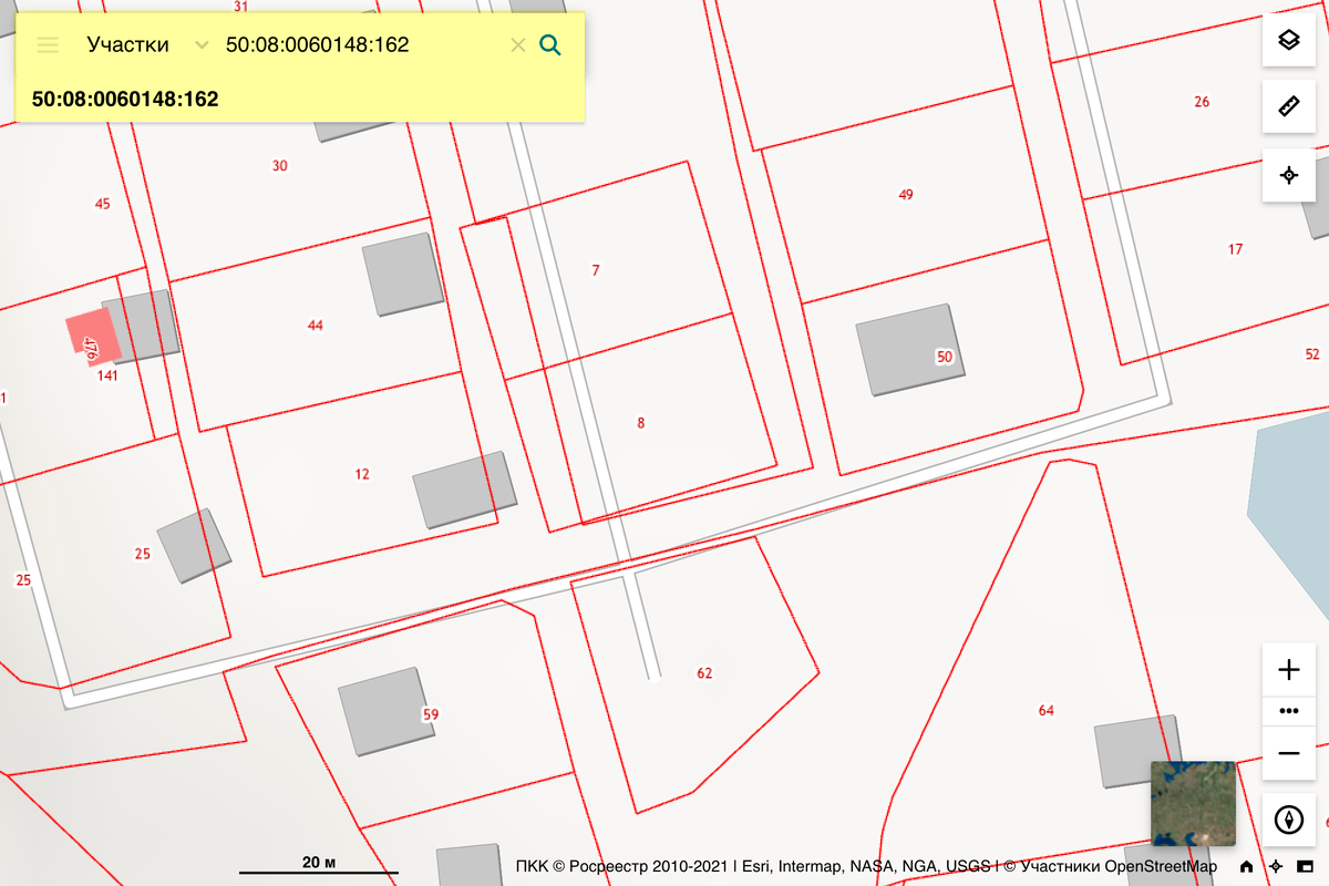 Вносим в строку поиска ПКК кадастровый номер земельного участка или строения