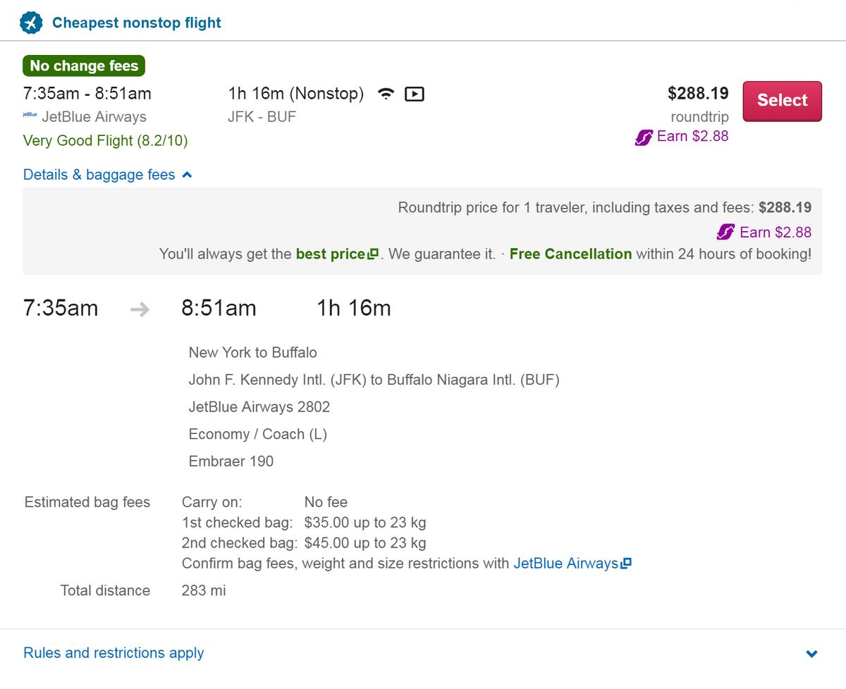 Путешествовать на водопады самолетом быстро и удобно, но дорого. Билет туда и обратно из Нью-Йорка — 288$ (около 21 024<span class=ruble>Р</span>), багаж оплачивается отдельно