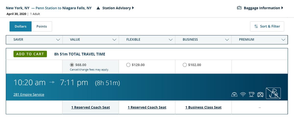 Билет в бизнес-класс стоит 102$ (около 7446<span class=ruble>Р</span>). В описании говорится, что у пассажиров будет больше пространства для&nbsp;ног. В качестве бонуса наливают бесплатные безалкогольные напитки
