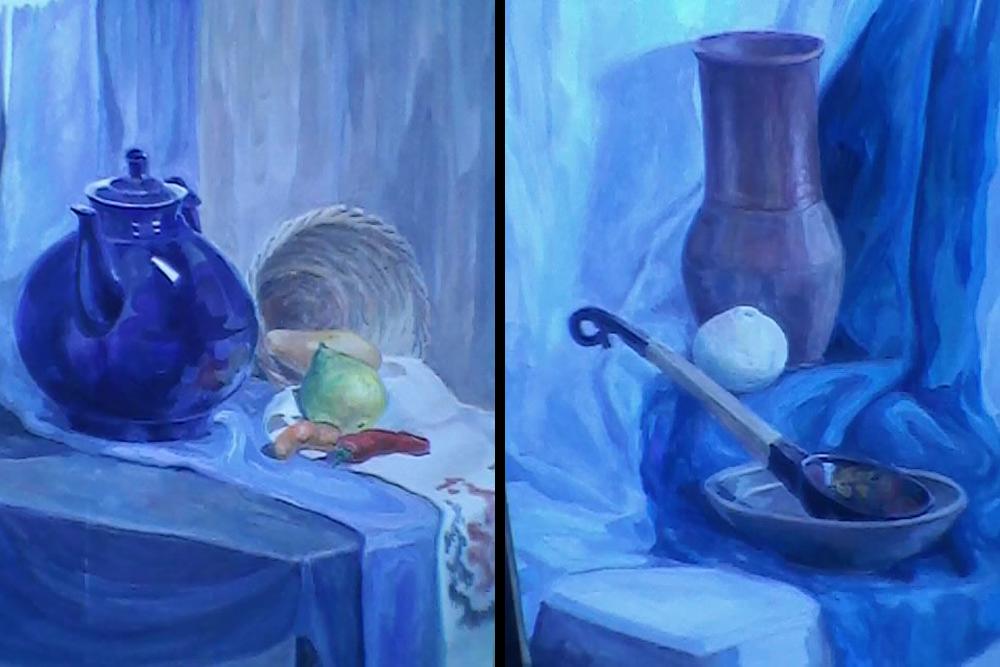 Фотографировать экзаменационные работы запрещено, ноя неудержалась. Слева — живопись взапасной вуз. Справа — вННГАСУ