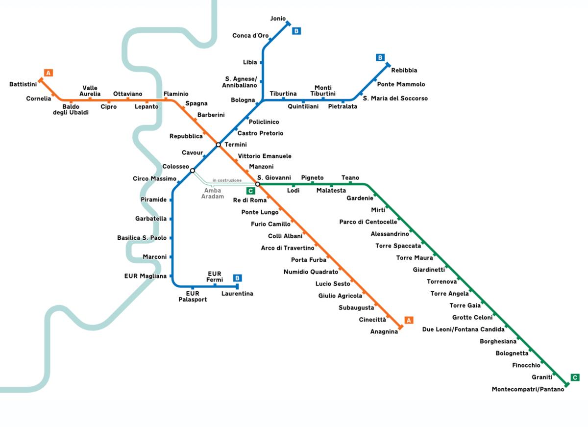 Схема римского метро. Источник: Википедия