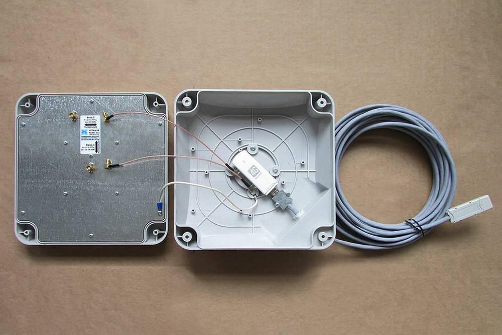 Разобранная панельная антенна-усилитель. 4G-модем стоит внутри. Источник: Антон-программист на «Яндекс-дзене»