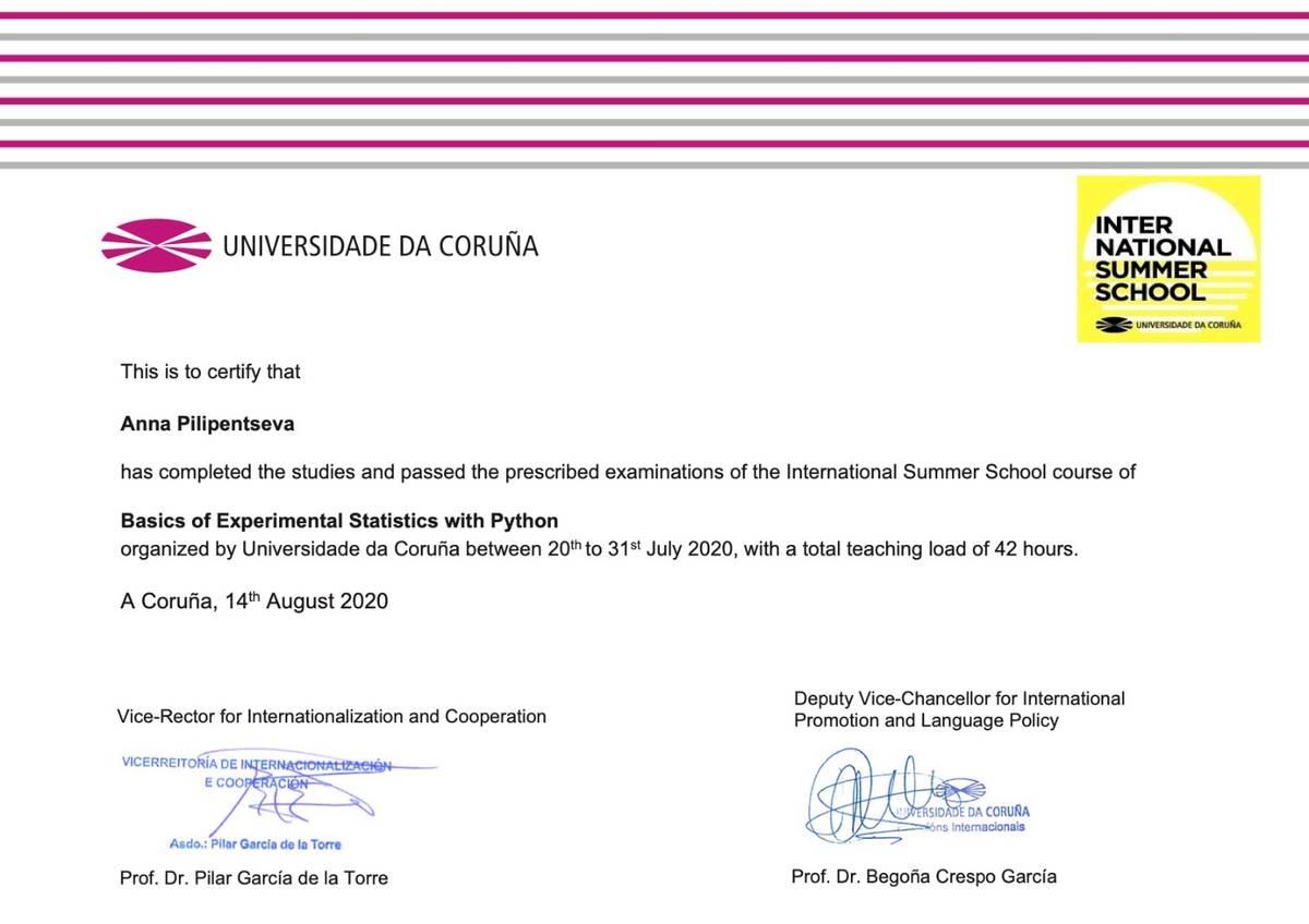 Мой сертификат за участие в UDC Summer School