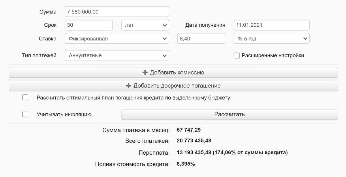 Если сразу сделать больший первоначальный взнос и взять кредит на 7 580 000<span class=ruble>Р</span>, сумма переплаты составит 13 193 435<span class=ruble>Р</span>