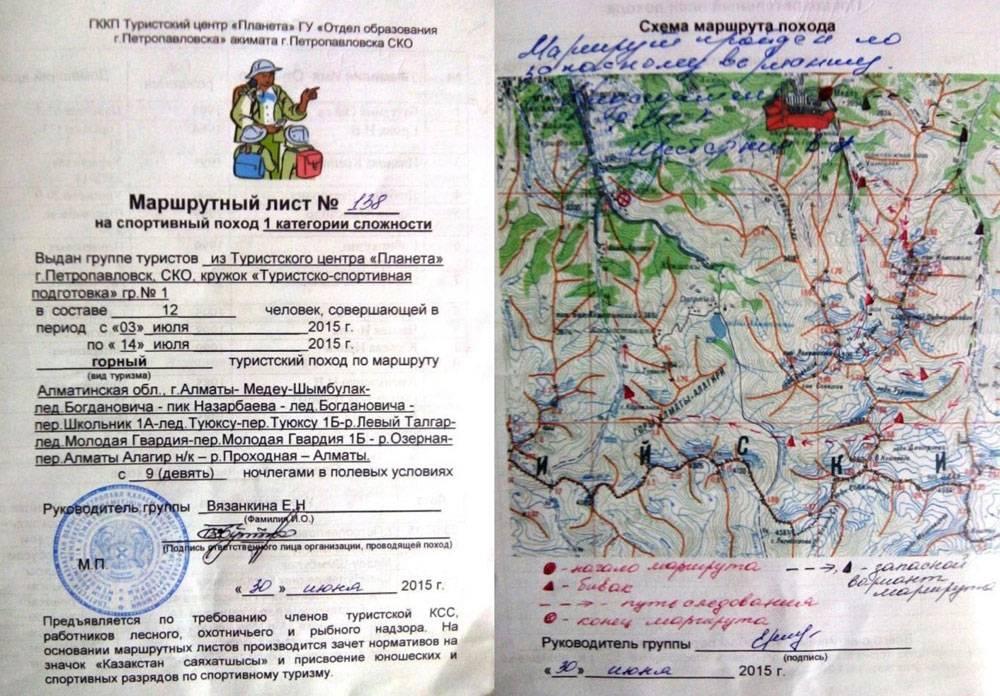 Так выглядит маршрутный лист — главная страховка альпиниста. Маршрут обозначается специальными символами — это как другой язык. Поэтому начинающим альпинистам заполнять лист помогает инструктор. Источник: ГККП Туристский центр «Планета»