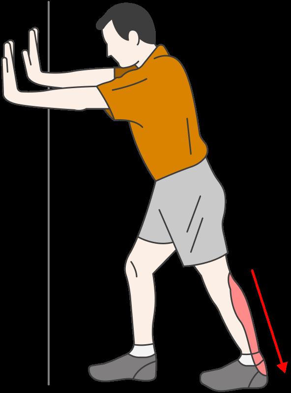 Второе упражнение: стоя лицом к стене, нужно поставить травмированную ногу позади себя, здоровую — ближе кстене. Неотрывая отпола больную ногу, сгибаем в колене здоровую. Я делал упражнение три недели, по 30—40 подходов четыре-пять раз вдень