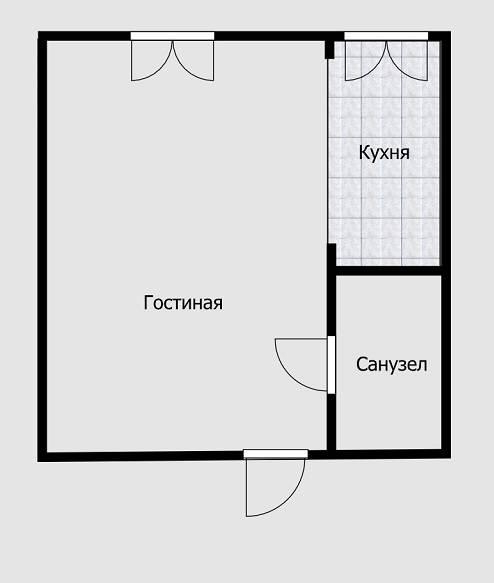 Но объединить кухню и комнату в однокомнатной квартире нельзя. Нужно выделить ее простенками или напольным покрытием, чтобы хотя бы формально было понятно, что это отдельное помещение