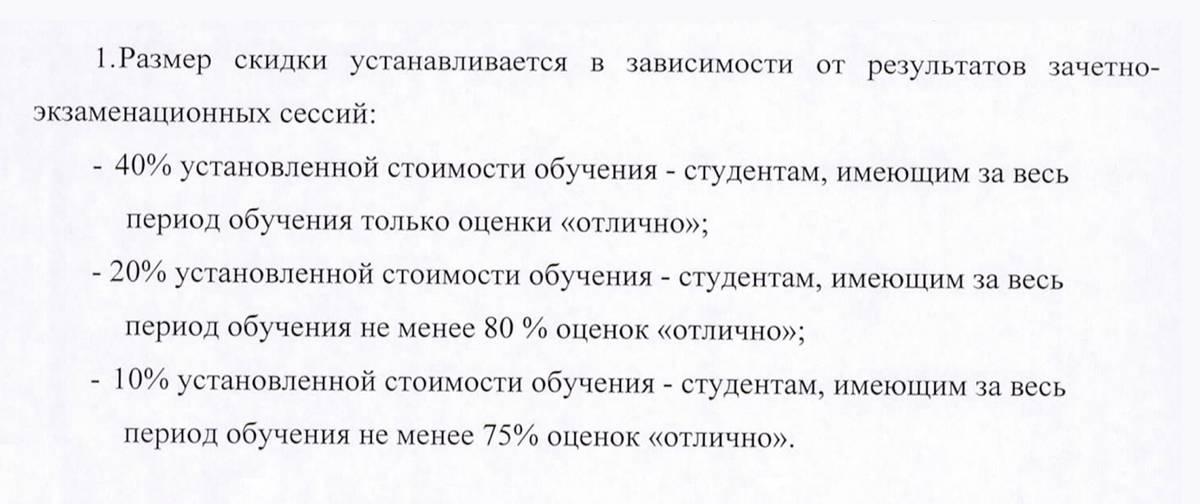 Пример скидок студентам Финансового университета