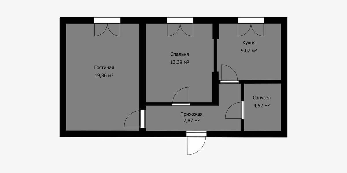 Но иногда в стене между комнатой и кухней предусмотрен дверной проем. На плане его можно отличить по небольшому участку тонкой стены