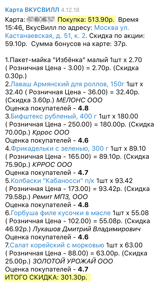 Наш чек из «Вкусвилла» с обычными скидками и всеми программами лояльности: потратили 513 рублей 90 копеек, сэкономили 301 рубль 30 копеек