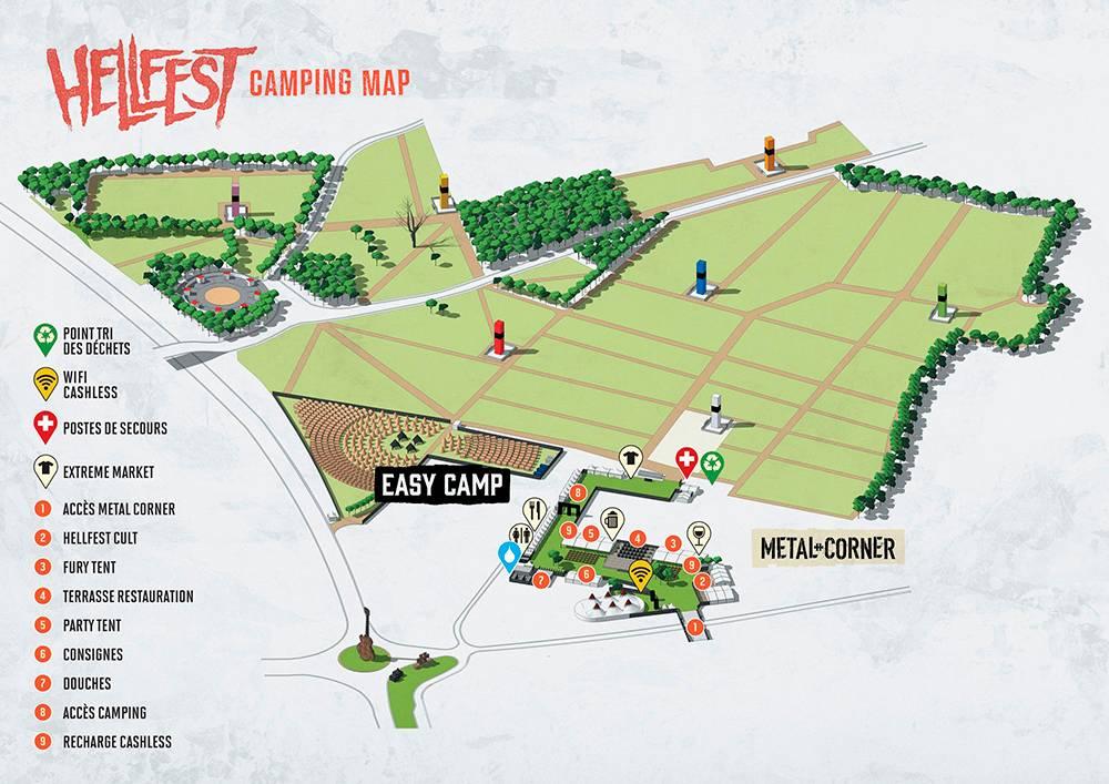 Цветные столбы на карте обозначают зоны внутри палаточного лагеря