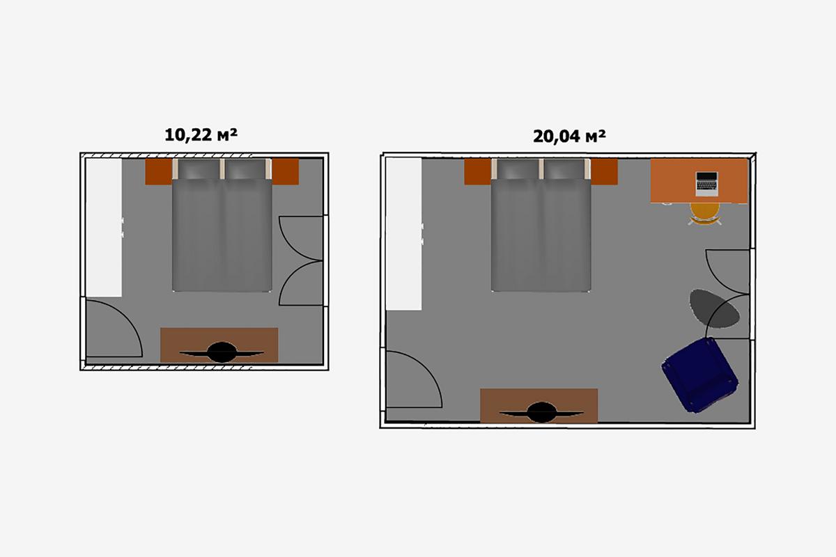Нужно постараться, чтобы вдвадцатиметровой спальне избавиться отощущения пустоты. Если вкомнате планируется только отдыхать, тобудет достаточно и10м². Наних уместится двуспальная кровать, пара тумбочек, бельевой комод стелевизором ишкаф