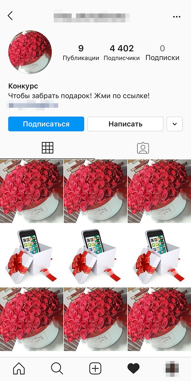 На странице этого профиля были размещены яркие фотографии и ссылка, по которой можно забрать «подарки»