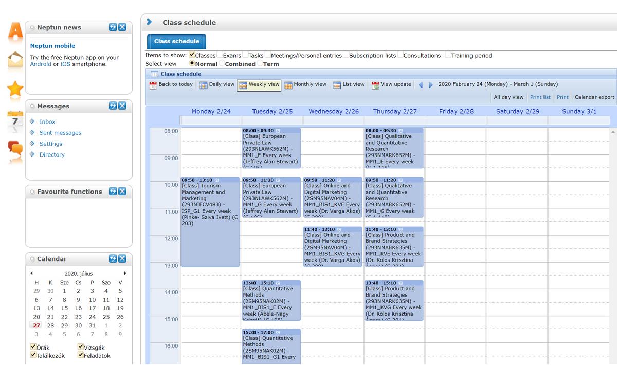 Это мое расписание навесенний семестр 2019—2020 учебного года в«Нептуне»