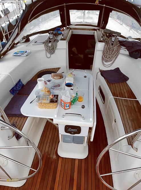 А это кокпит — пространство для рулевого и пассажиров яхты