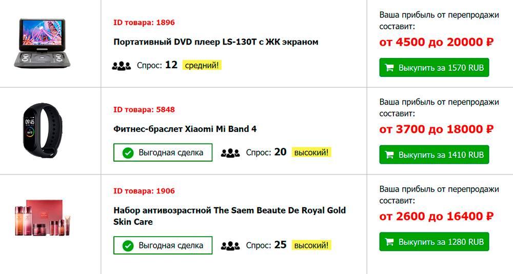 Самый дорогой товар — портативный DVD-плеер. Выкупить его можно за 1570<span class=ruble>Р</span>, а продать — за 20&nbsp;тысяч.