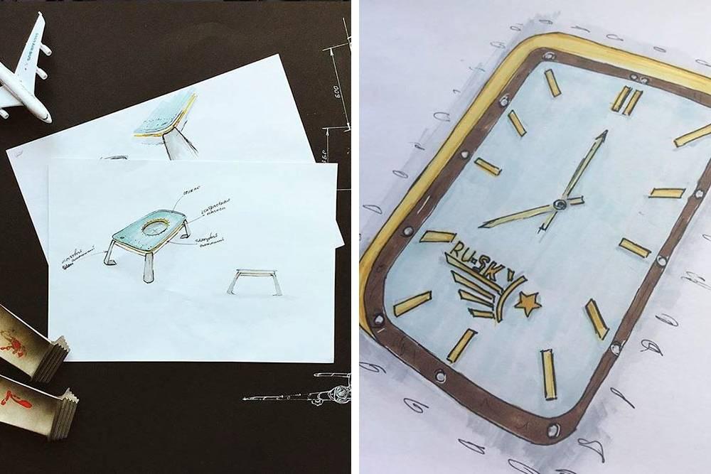 Первые эскизы журнального столика и настенных часов, выполненные Анастасией