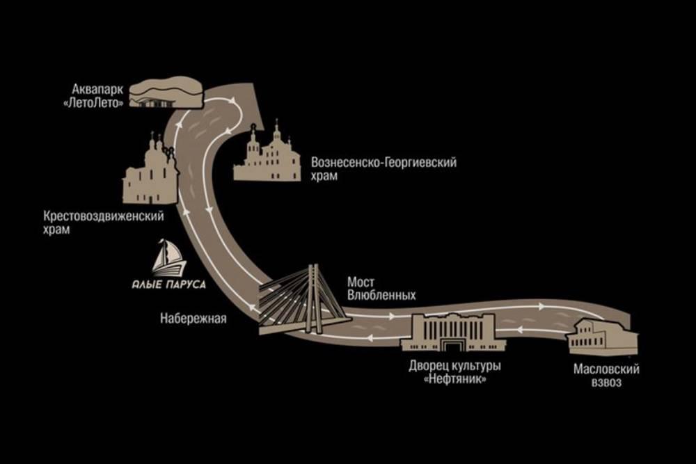 Маршрут прогулки на теплоходе. Источник: группа «Тюменской судоходной компании»