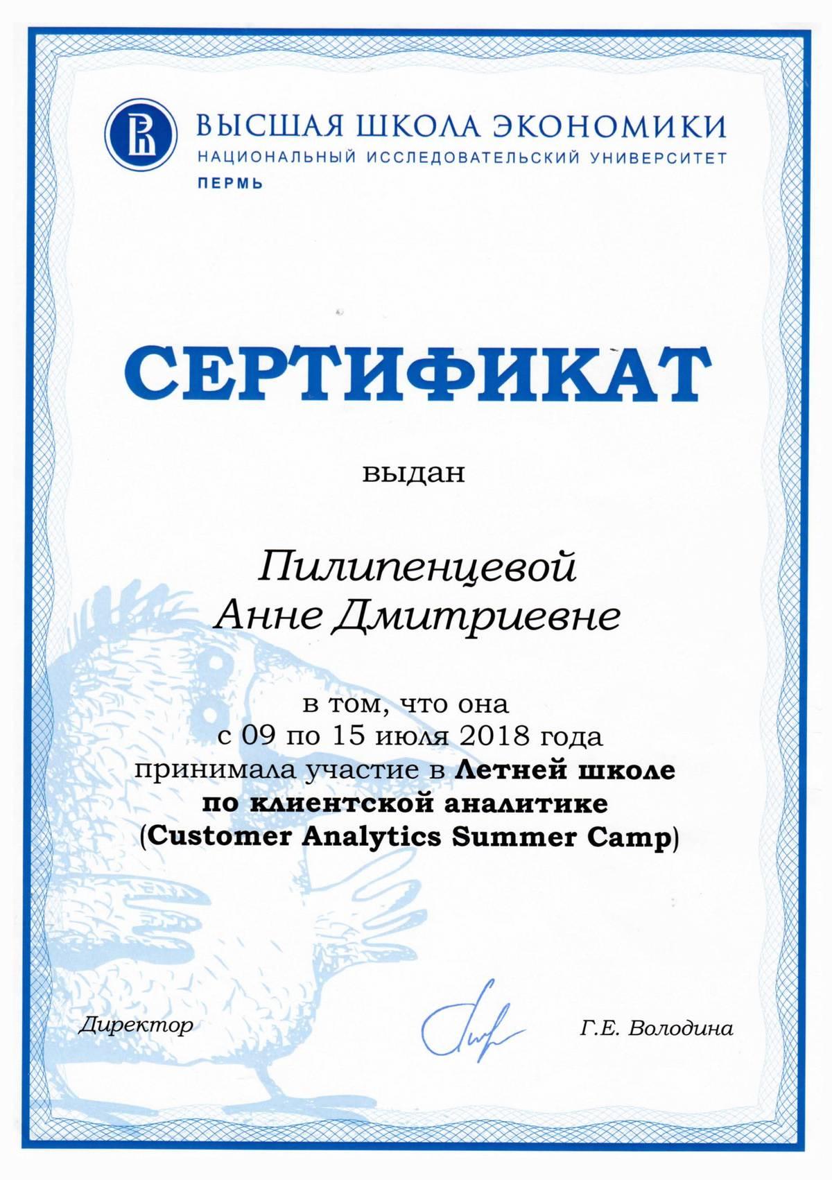 Мой сертификат за участие в летней школе по клиентской аналитике Customer Data Analytics Summer Camp