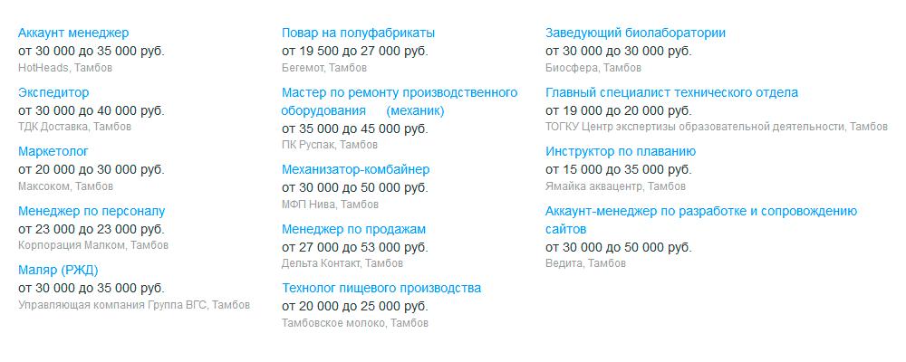 Вакансии дня в Тамбове на «Хедхантере». Зарплаты — от 15 000 до 45 000<span class=ruble>Р</span>