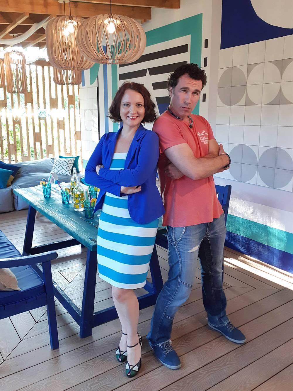 С ведущим Тимофеем Пронькиным на съемках финала «Фазенды Лайф»