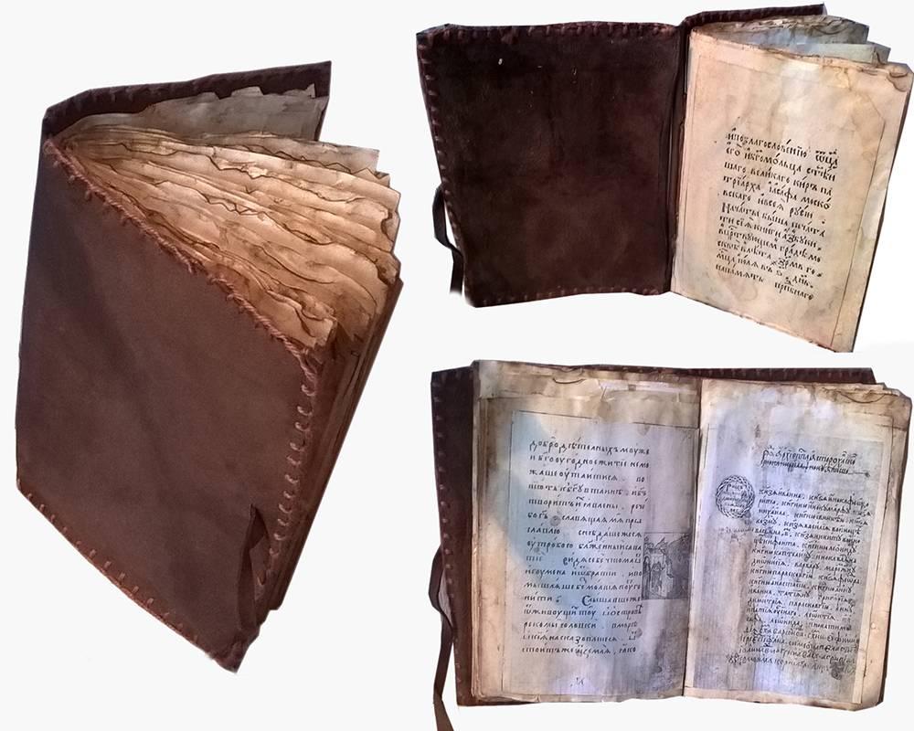 Книга подстарину длянаучно-исследовательской работы: длянее Даша нашла в интернете и распечатала нужные страницы, вымочила их в чайной заварке, чтобы состарить. Обложку из картона и кожзама делала ее одноклассница