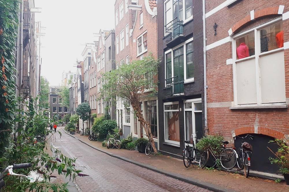 Типичная улочка в старом районе, у каждого подъезда припарковано по несколько велосипедов