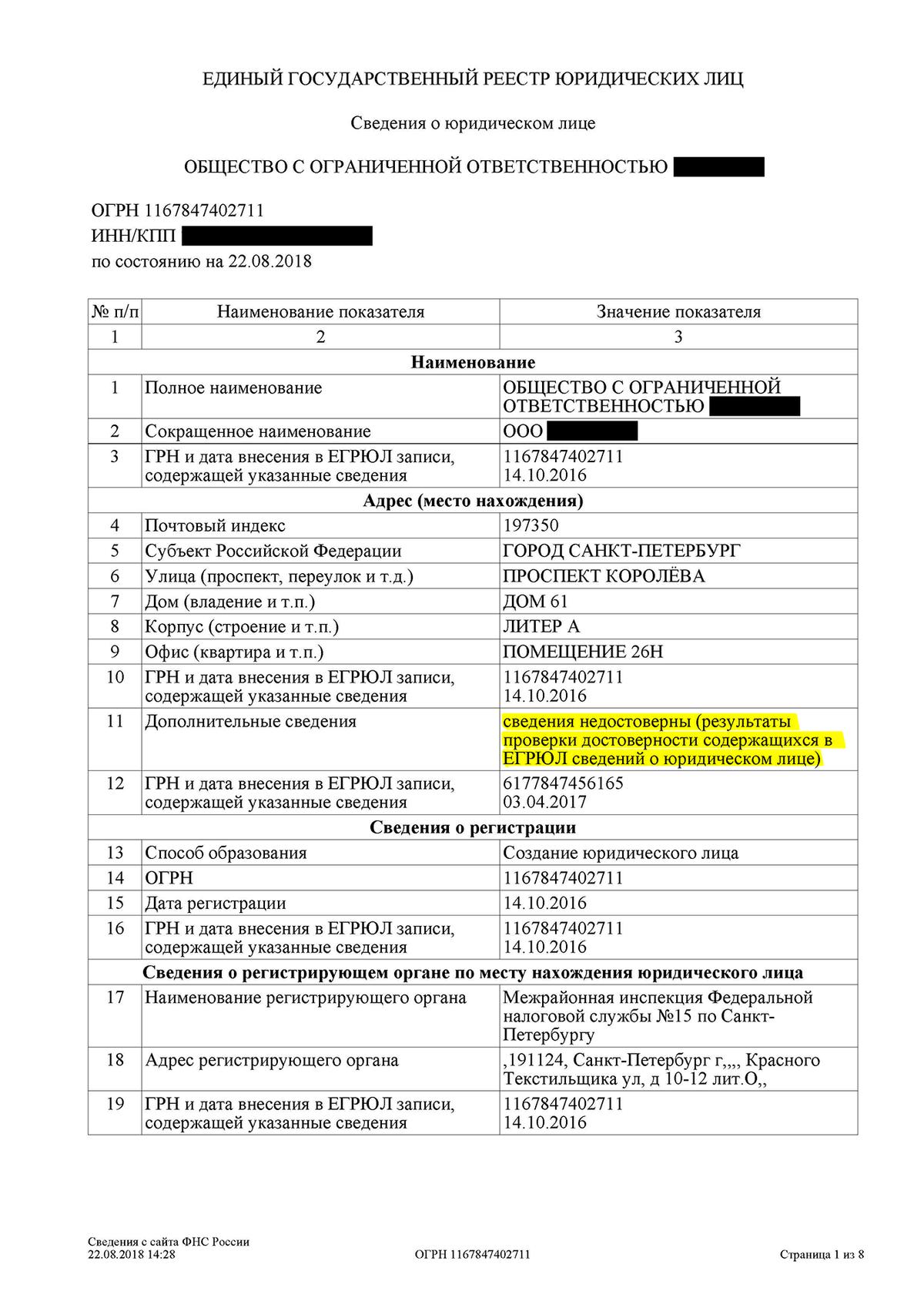 А так выглядит отметка о недостоверности адреса. По мнению налоговой, организация не находится по этому адресу