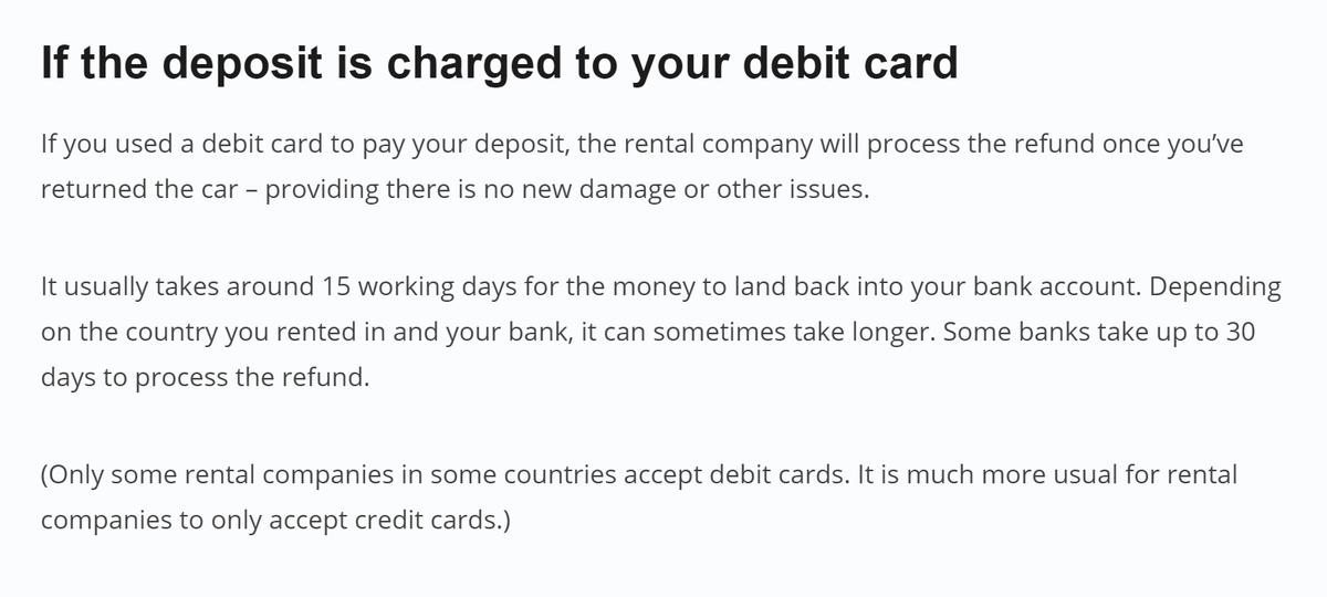 На сайте «Ренталкарс» вывешено предупреждение, что некоторые компании принимают только кредитные карты