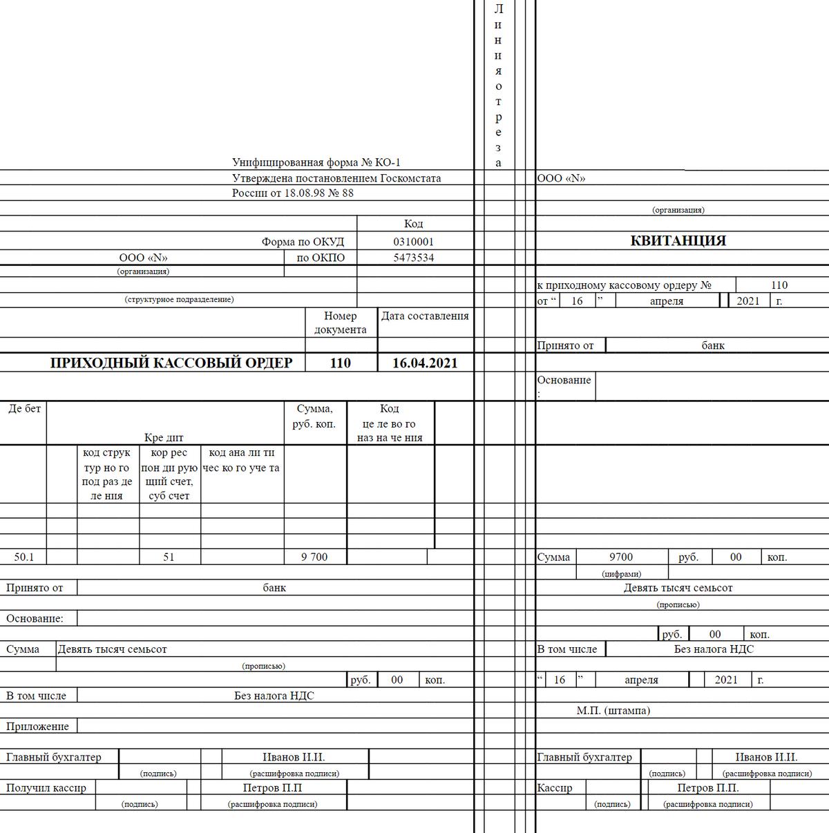 Это приходный ордер на получение из банка денег на зарплату. Ордер подписывают бухгалтер, оформлявший документ, и кассир, который принял деньги в кассу