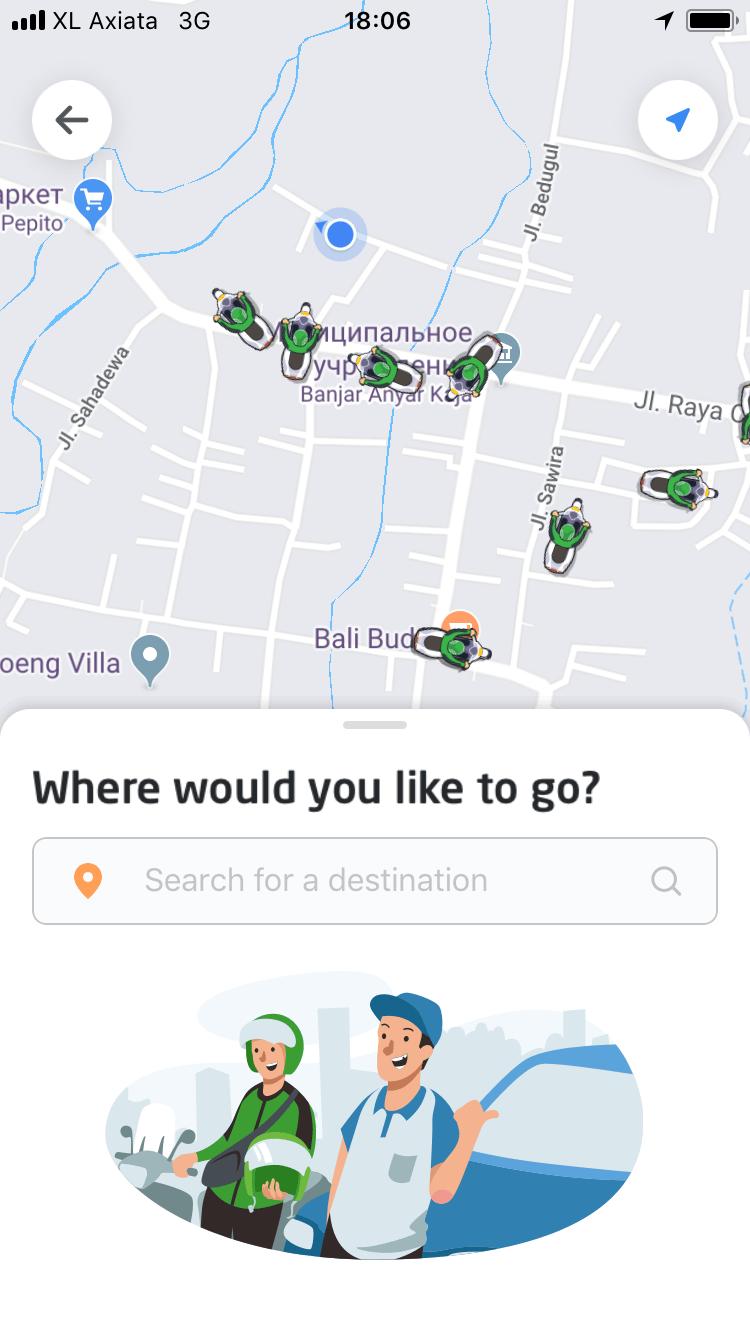 Мобильное приложение «Го-джек» показывает местоположение водителей в реальном времени
