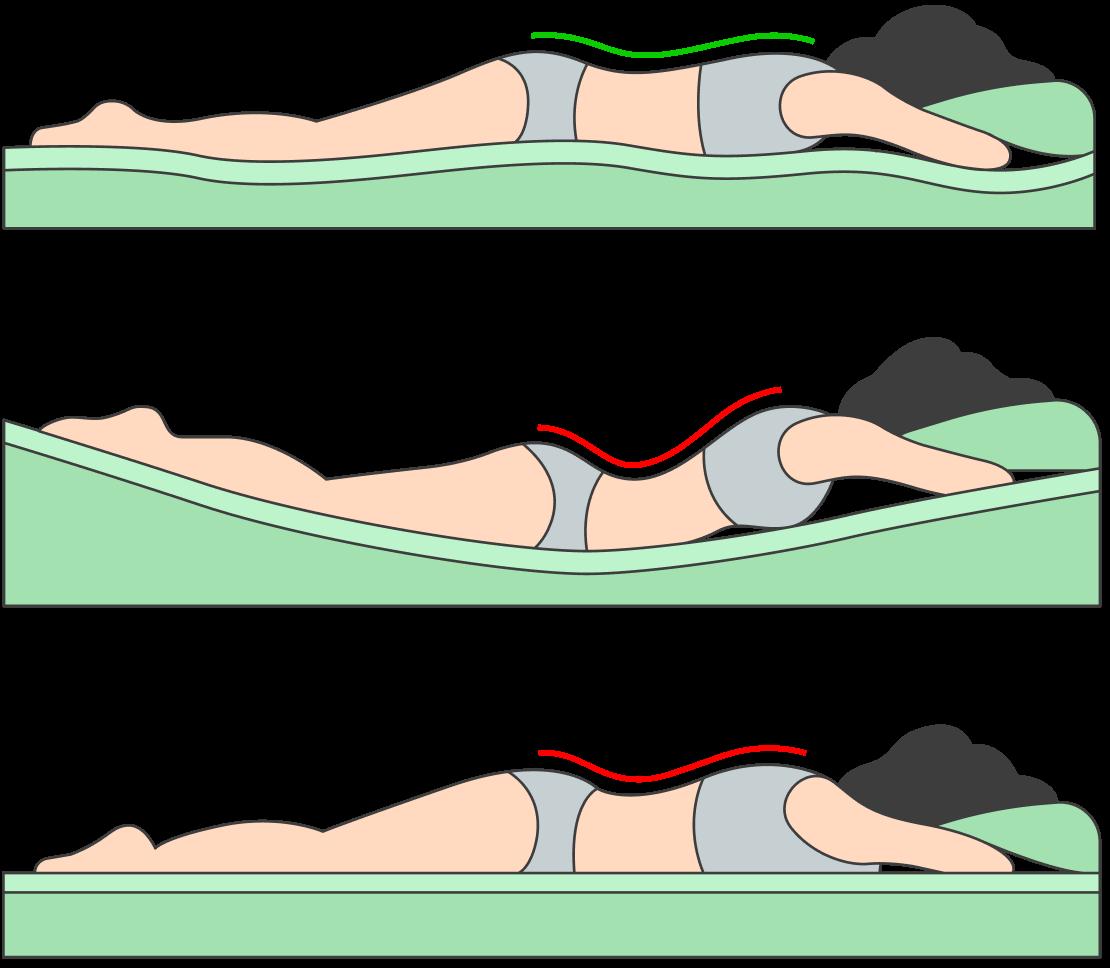 Когда человек лежит на животе на слишком мягком матрасе, усиливается изгиб впояснице. Анаслишком твердом — нерасслабляется грудной отдел