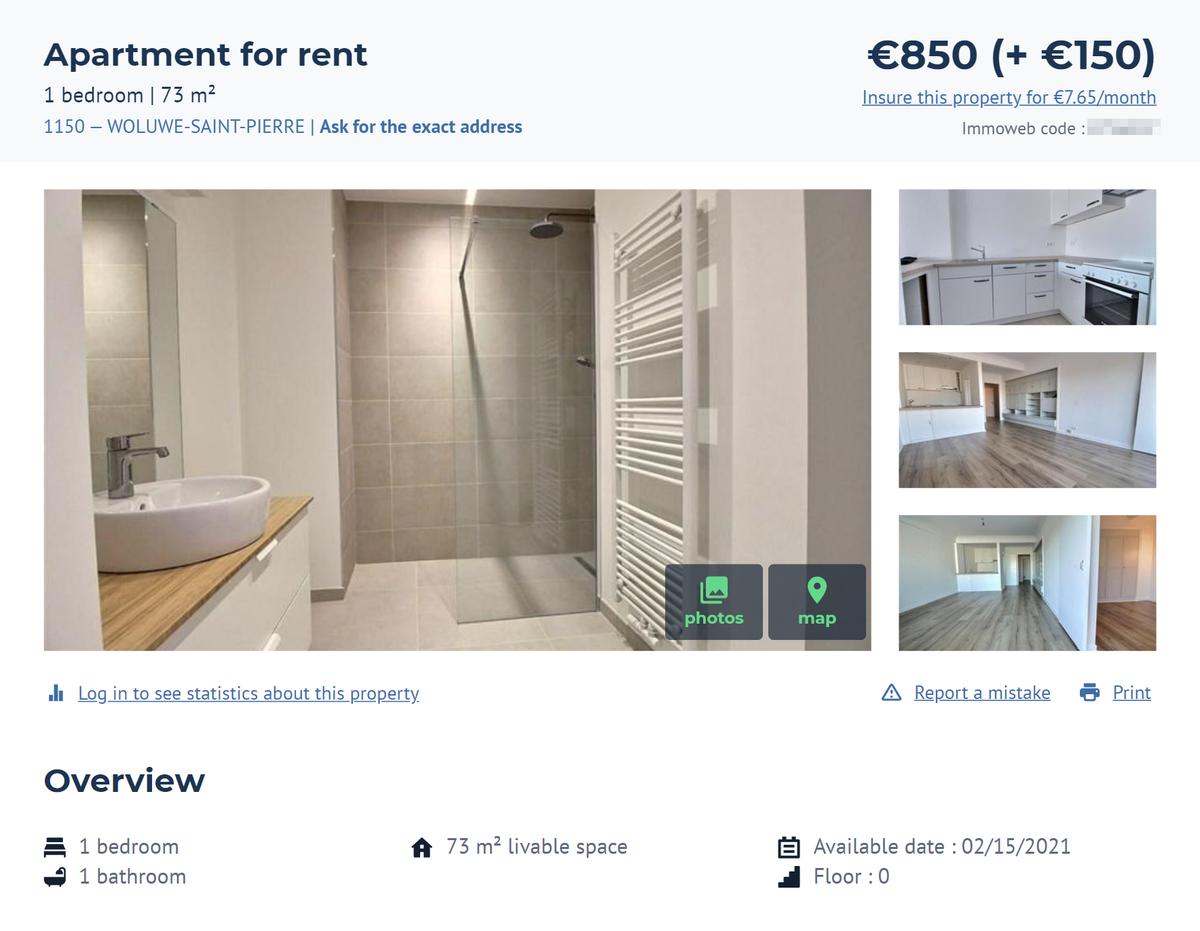 Это квартира вхорошем районе Волюве-Сен-Пьер. Она стоит 850€ вмесяц безмебели. Источник: Immoweb