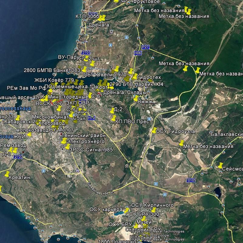Мои друзья, исследователи подземного Севастополя, отметили на карте большинство точек. Пользоваться ею неудобно, зато видно, как много здесь объектов подземлей