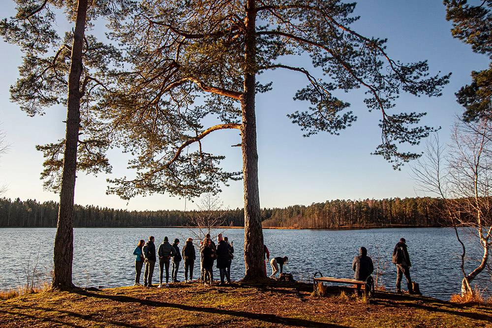 Вид на озеро с Веселого мыса. Найти свободную скамейку несложно. Они установлены вдоль берега по всему периметру озера