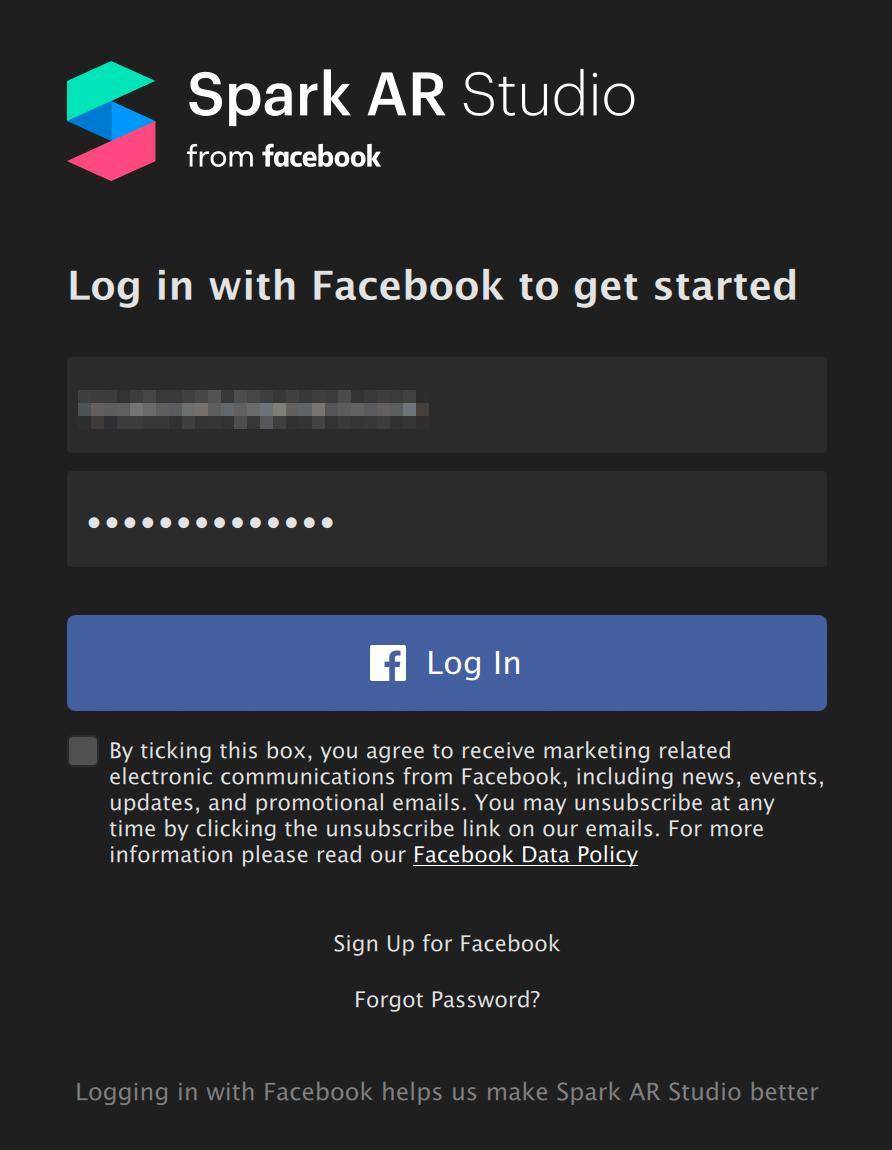 Войти в «Спарк» можно с помощью логина и пароля от Фейсбука