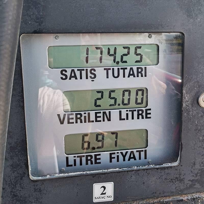 Табло бензоколонки: снизу — стоимость литра бензина в лирах, посередине — объем топлива, сверху — общая стоимость покупки
