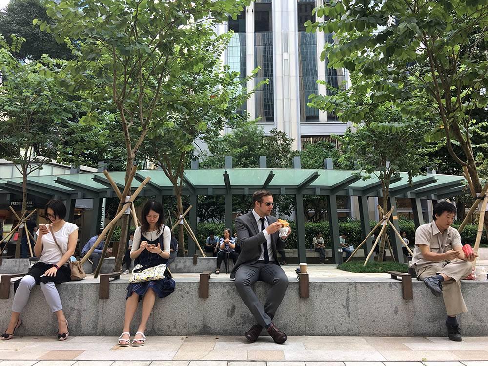 Перед тайфуном. Деревья уже укрепили к тайфуну, но люди еще спокойно обедают на улице