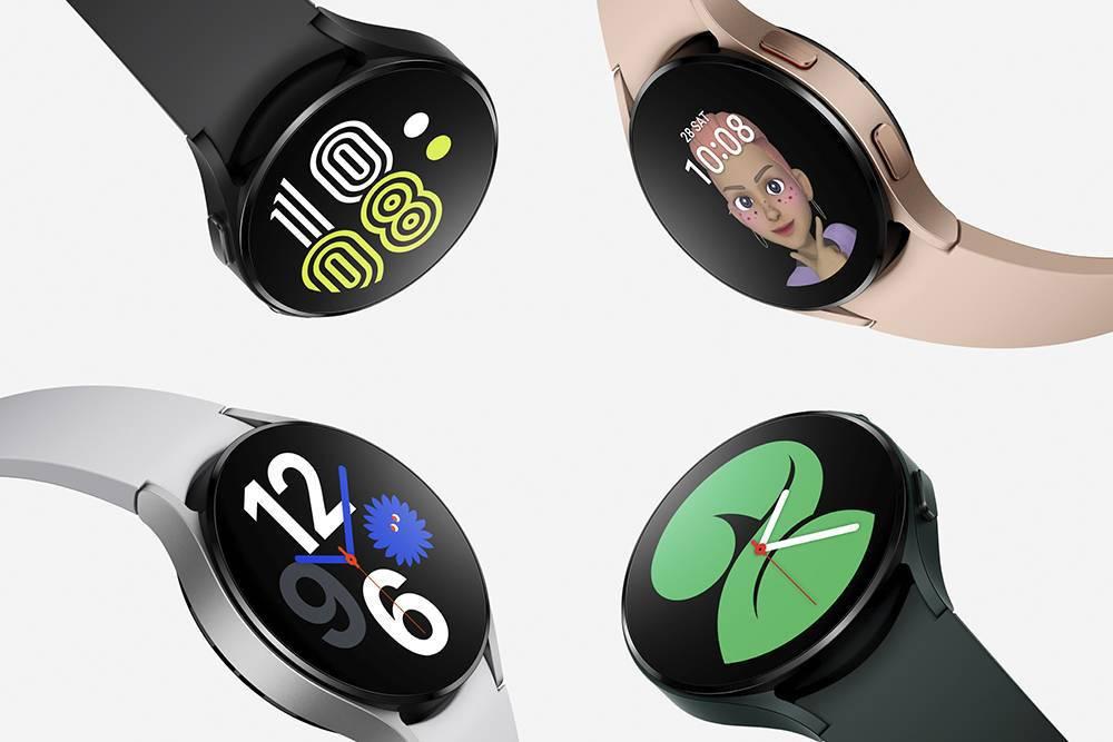 Часы Galaxy Watch4 в разных цветах и с разными видами циферблатов. Источник: «Самсунг»