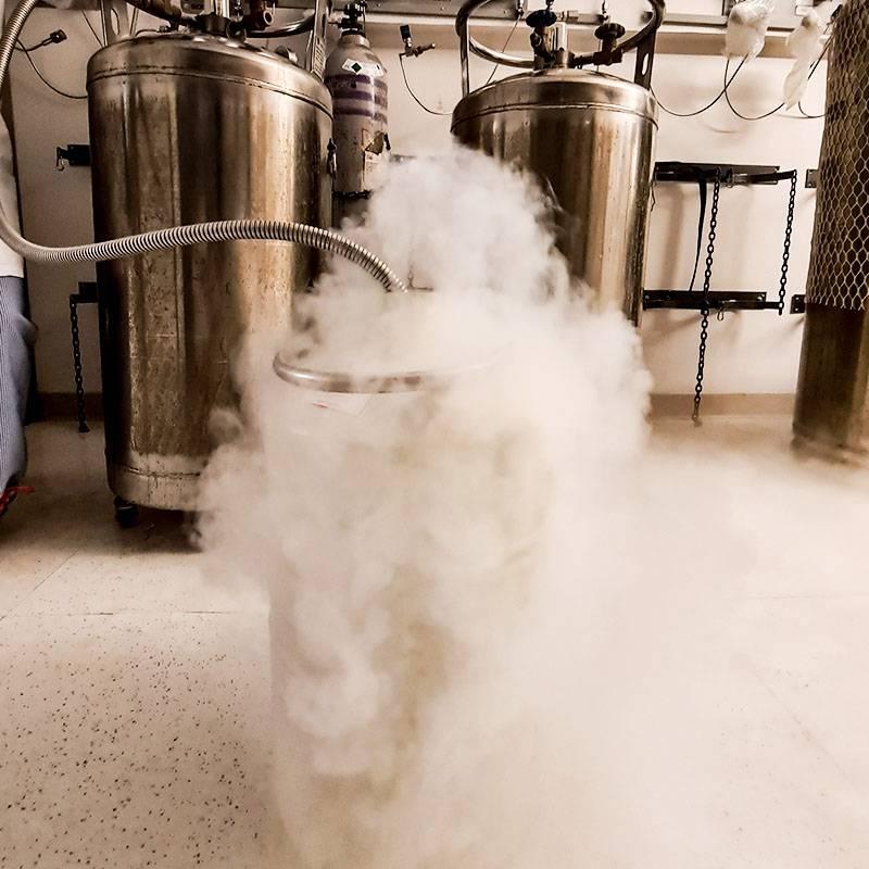 Наливаем жидкий азот. По технике безопасности это можно делать только вдвоем