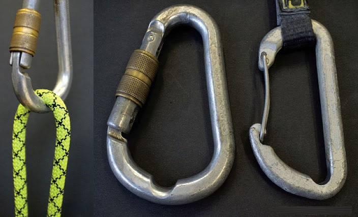 Износ карабина от веревки должен быть не больше 2 мм. Здесь — около 3 мм. Такой карабин использовать уже опасно