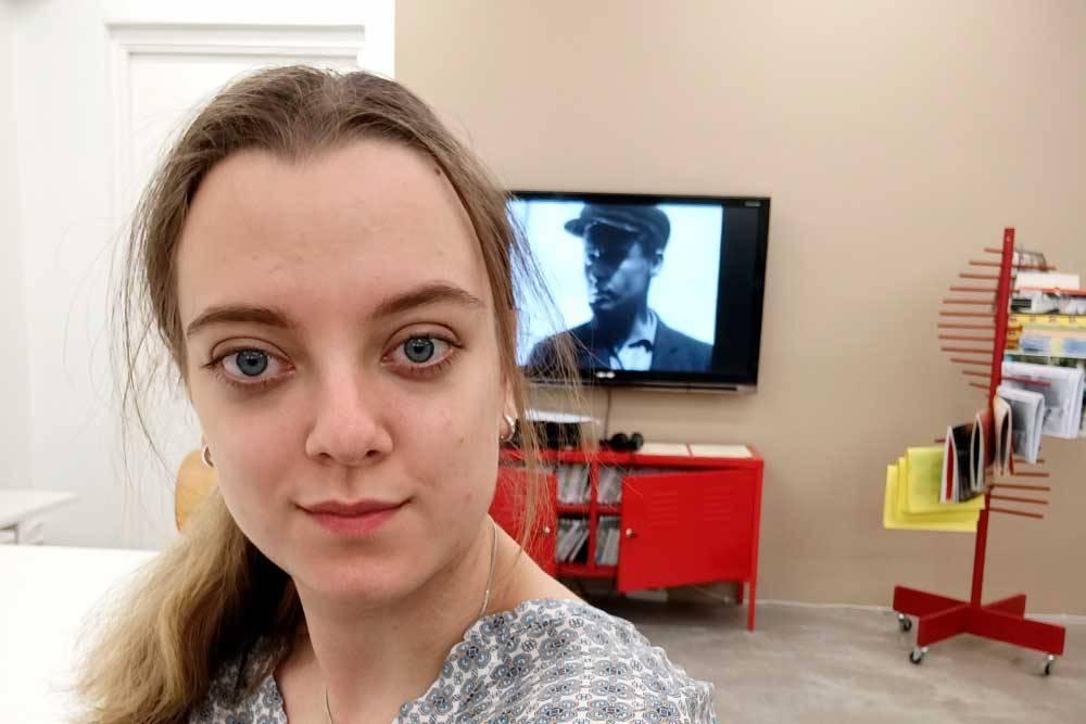 Я во время стажировки на открытии выставки в Index Foundation, Стокгольм
