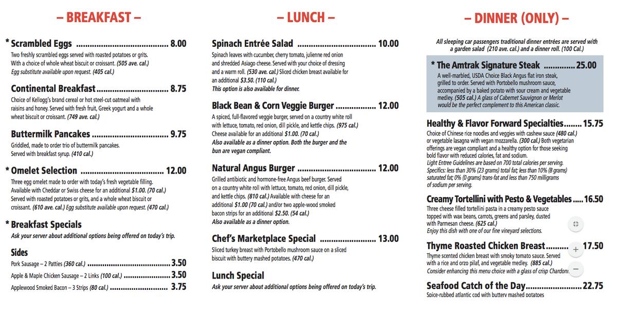 Поесть стоит дороже, чем в «Макдоналдсе» или городском кафе: 8—12$ за блюдо на завтрак, 10—13$ на обед, 15—25$ на ужин. Кофе стоит как везде — 2$.