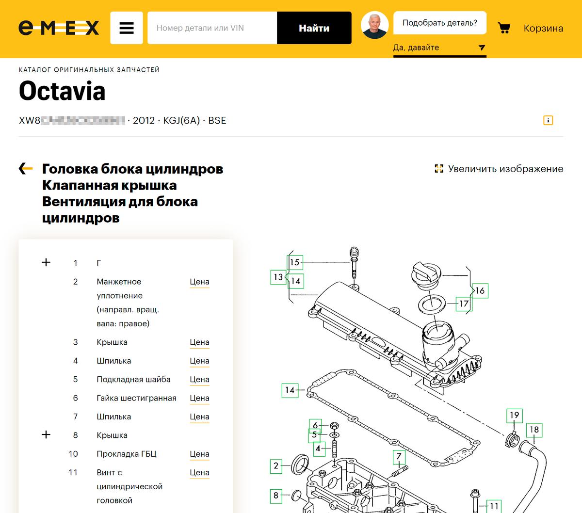 VIN может помочь с самостоятельным подбором запчастей в некоторых интернет-магазинах. Источник: emex.ru