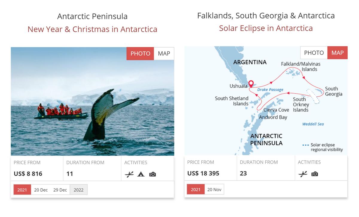 У Poseidon Expeditions есть туры на11дней сзаходом только вАнтарктиду ина21день спосещением Фолклендских островов