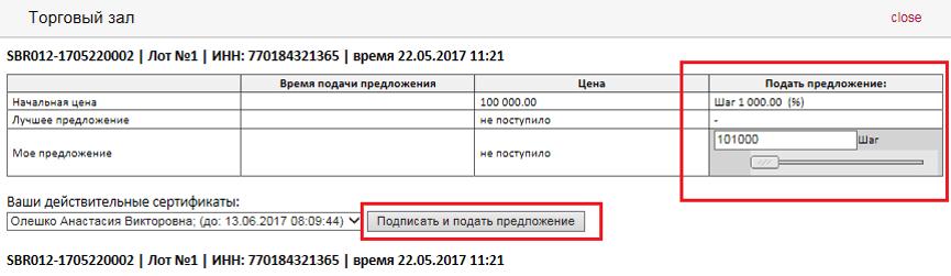 А так проходят торги за конкретный лот (картинка из презентации «Аукцион-приватизация», подготовленной платформой «Сбербанк-АСТ»)