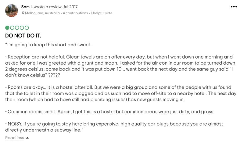 Q4 Hotel в Нью-Йорке находится рядом с наземной станцией метро. Шум не мешал мне спать, но длянекоторых гостей это было большой проблемой. По их словам, буквально каждую минуту неподалеку проезжали поезда. Источник: «Трипэдвайзор»