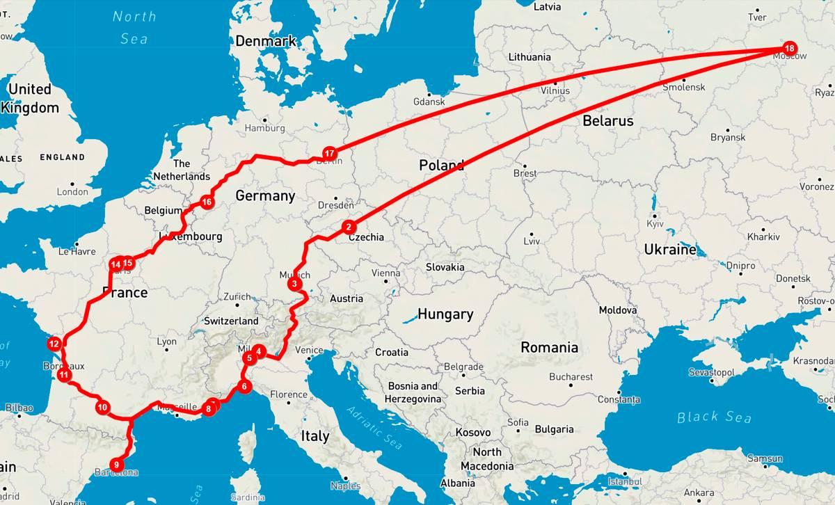 Схема маршрута Москва — Барселона — Москва. Самые длинные расстояния — между Москвой и Варшавой. Дальше в Европе все рядом