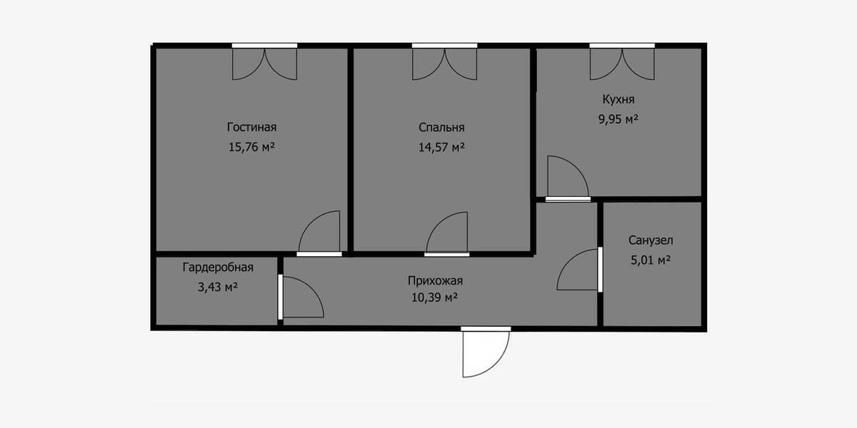 В квартире есть гардеробная, куда можно перенести кухню и присоединить ее к комнате